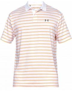 *Under Armour Mens Performance 2.0 Divot Stripe Polo - White/Orange