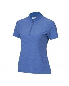 Greg Norman Womens SS Knit Heather Zip Polo - Cayman Blue