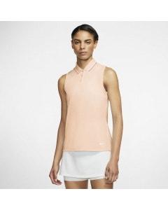 Nike DF Victory Sleeveless Solid Women's Polo - Crimson Tint/Bright Mango/White