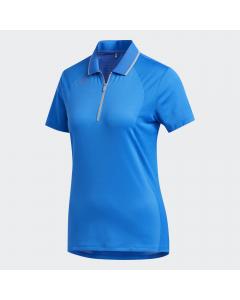 Adidas Womens Aeroready Engineered Polo - Glow Blue