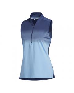 Adidas Womens Ultimate365 Striped Sleeveless Polo Shirt - Indigo/Light Blue