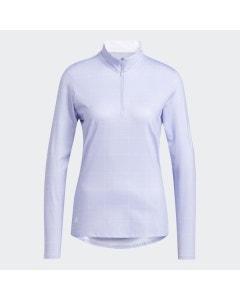 Adidas Women's Printed Long-Sleeve Polo - White/Violet Tone