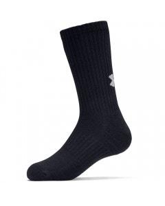 *Under Armour Unisex Cotton Crew Sock 3 Pack - Black