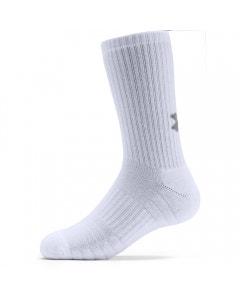 *Under Armour Unisex Cotton Crew Sock 3 Pack - White