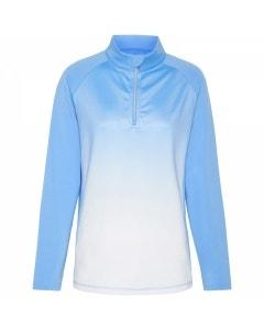 Sporte Leisure Womens 1/4 Zip Ombre Pullover - Arctic Blue